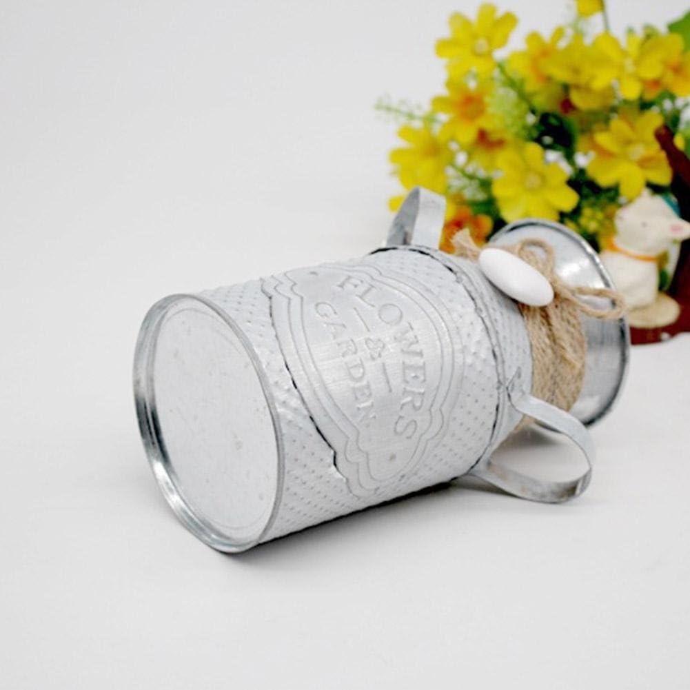 Vase Artisanal en Fer ornemental Pastoral jardini/ère personnalis/ée avec d/écoration en Corde de Chanvre pour Magasin de Fleurs de Salon Lucky-all star Pot de Fleur cylindrique innovateur Simple