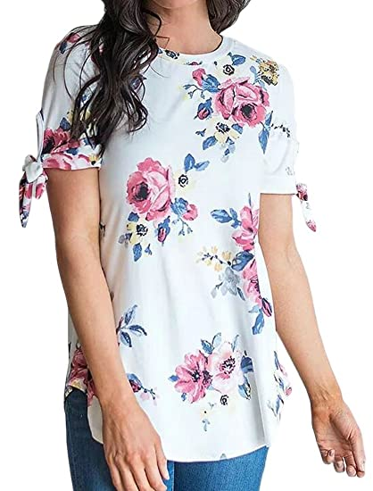 536b114d7b57a Fensajomon Women Short Sleeve Casual Loose Fit Flower Print Round Neck Top  Blouse T-Shirt at Amazon Women s Clothing store