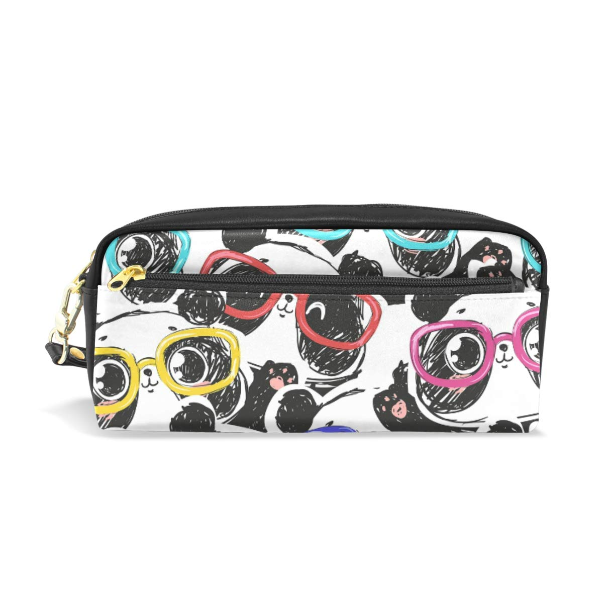 Mr.XZY Panda Pencil Case Pen Bag Cute Animal Pen Case for Boy Girl PU Leather with Zipper Pen Bag Multi-Function Stationary Case 2010332
