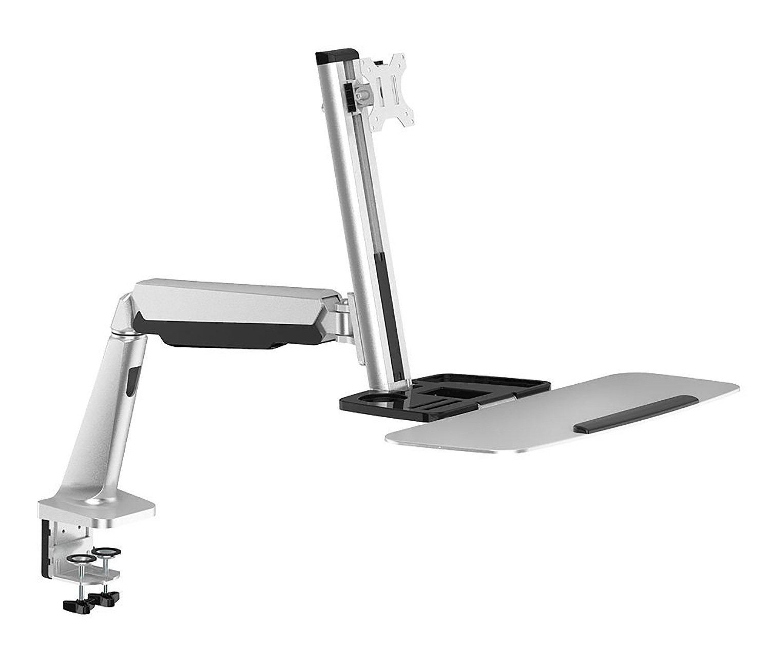 PrimeCables Fully Adjustable Standing Desk Mount with Single Monitor Mount for Most 13''-32 LED LCD Screen with 75 x 75 and 100 x 100 VESA Patterns - Multifunctional Gas Spring Transition Workstation with Keyboard Tray (Ergonomic, Counterbalance)