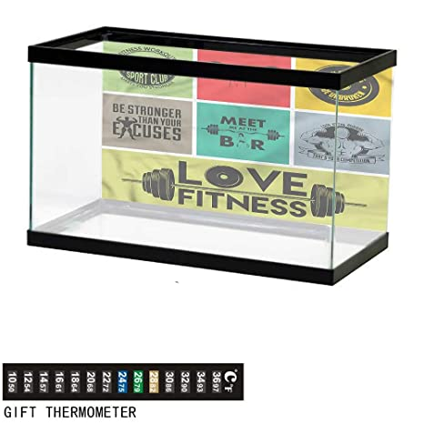Amazon com : bybyhome Fish Tank Backdrop Fitness, Various Quotes