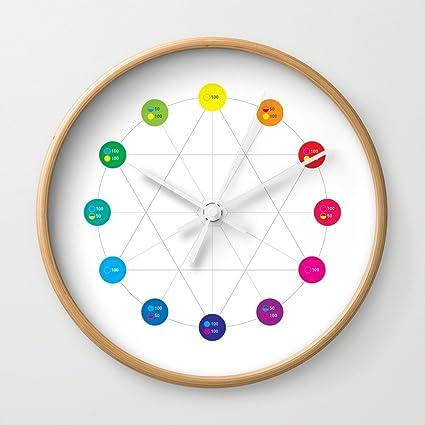 Amazon Com Society6 Simple Color Wheel Wall Clock Natural Frame