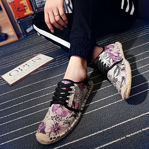 Flat Mens Slip fereshte Comfort Flower Canvas Unisex Platform Purple Espadrilles Womens Cap Couple Toe On tt81SqP