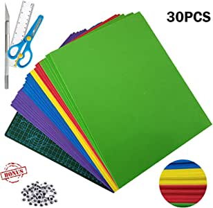 "30Pcs Foam Sheets - 2mm Thick EVA Craft Foam Assorted Colorful Crafting Sponge (9"" x 12"") with A4 Cutting Mat Knife Ruler for DIY Classroom Party Kids Handicraft Art & Crafts Projects (5 Colors)"