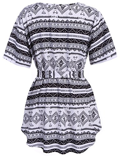 97d256089217a Meaneor Women s Loose Blouse Short Sleeve Smocked Empire Waist Tank Chiffon  Print Summer Plus Size Casual