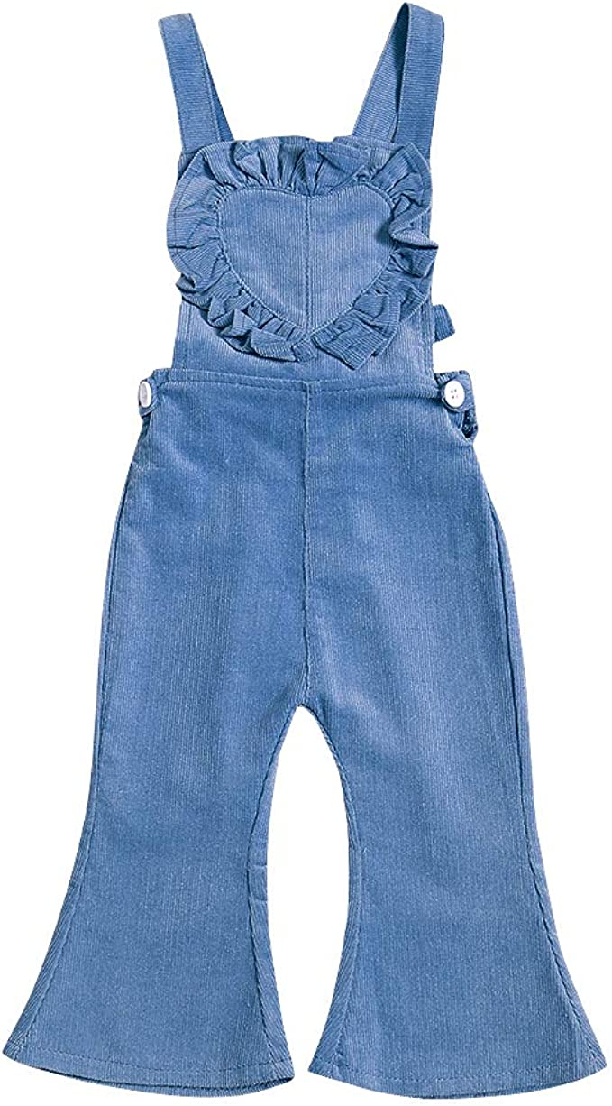 AIKSSOO Toddlers Little Girls Corduroy Overall Bib Pants Flare Skinny Jeans