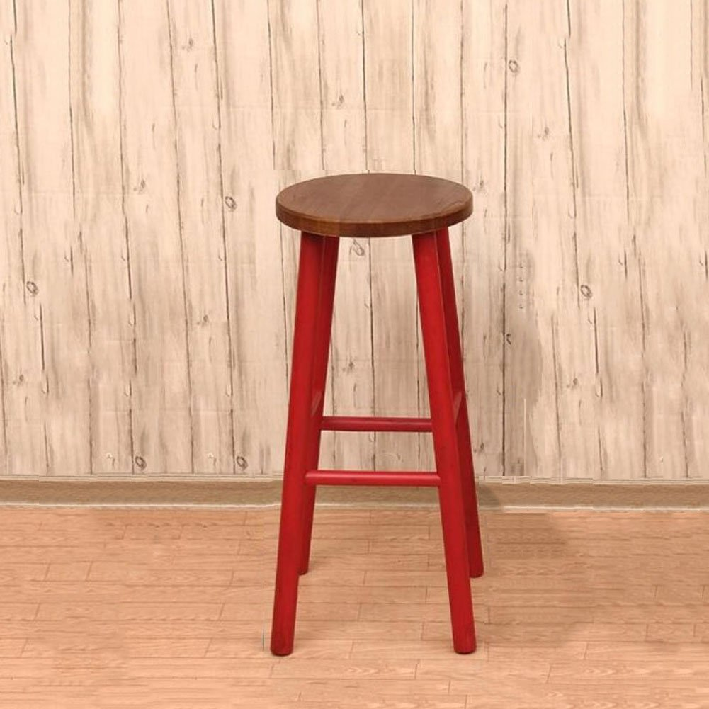 Red CJC Wooden Stool Bar Chair High Chair Fashion Simple Home Office Furniture Kitchen (color   RED)