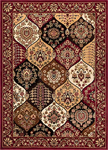 Dynasty Panel Red Multi Oriental Floral Geometric Modern Area Rug 8x10 8x11 ( 7