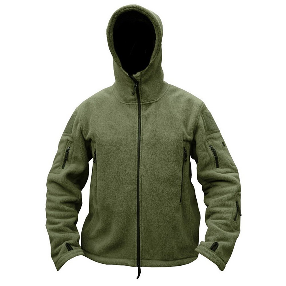 ReFire Gear Men's Warm Military Tactical Sport Fleece Hoodie Jacket, Army Green, X-Large by ReFire Gear (Image #2)