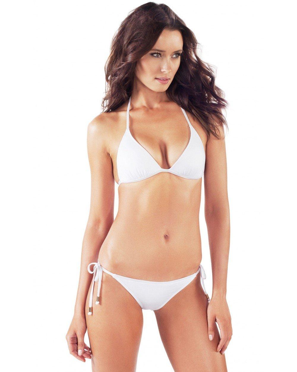 Voda Swim Women's Brazilian Cut String Bikini Bottom S White
