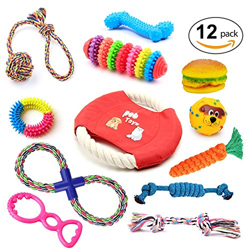 Dog Toys Set, IN HAND 12 Pack Pets Gift Set, Ball, Cotton Rope Toy, Chew Squeaky Toys and Training Toy for Small or Medium Dog Random (Gifts For Pets)