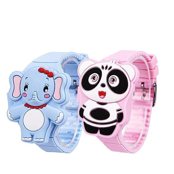 Reloj niño LED Digital, 2pcs reloj electrónico Mignon (silicona, Panda elefante de dibujo animado 3d Ckeyin -: Amazon.es: Relojes