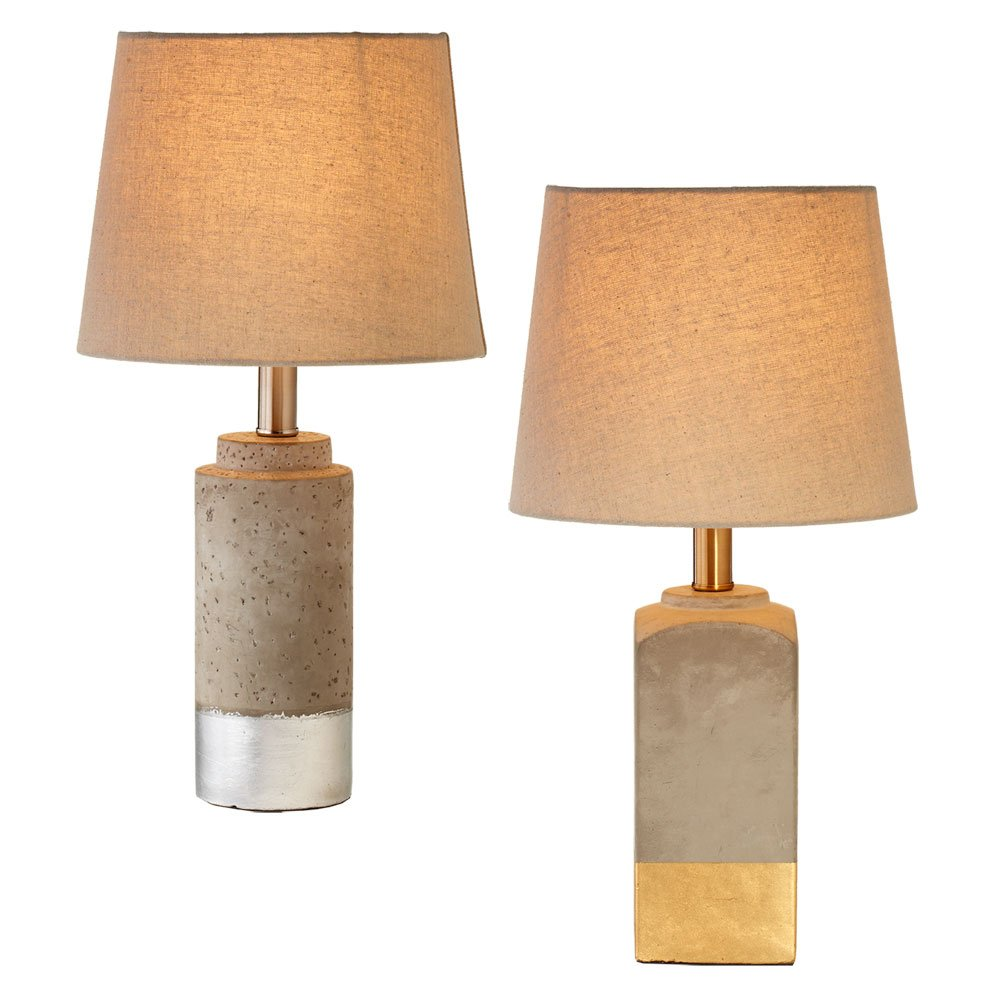 Modern Metallic Dipped Tabletop Accent Lamp And Shade Set, Gold & Silver Dip, Set of 2, 18.5-inch