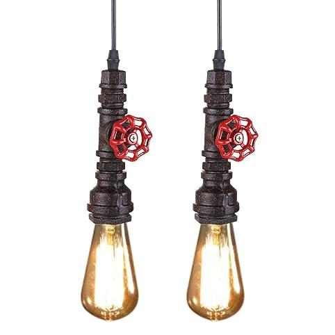 Loft Retro DIY Industrial Iron Pipe Vintage Ceiling Light Pendant Lamp Fixture A 2