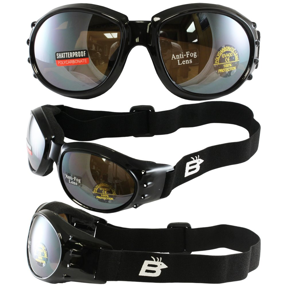 Birdz Eyewear Eagle Motorcycle Goggles Black Frame//Mirrored Brown Lens