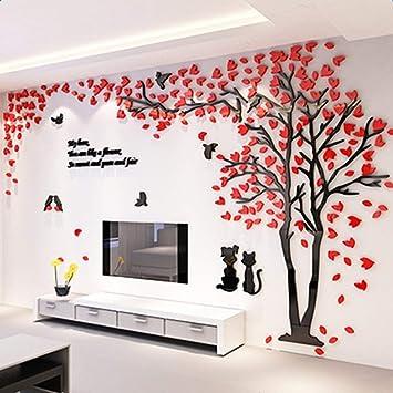 Alicemall 3D Wandtattoo Shrinkable Acryl Wandaufkleber Wand Sticker  Herzchen Blätter (Rot Baum)
