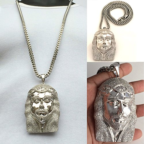Mens Hip Hop Iced Out Silver Jesus Pendant Stainless Steel Franco Chain Necklace