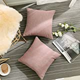 HOME BRILLIANT Throw Pillows 2 Pack Cover Valentines Day Decoration Pink Linen Chenille Blend Textured Couch Cushion Cover Cases Set for Girls, 45x45cm(18x18 inches), Cherry Blossom