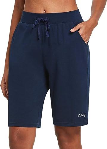 Freizeit Sport BALEAF Damen Bermuda Shorts mit Taschen Kurz Baumwolle Hose f/ür Yoga