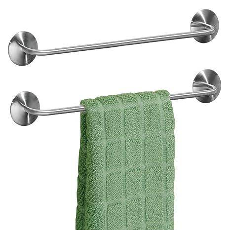 mDesign Juego de 2 toalleros de baño sin taladro – Toallero adhesivo de acero cepillado para