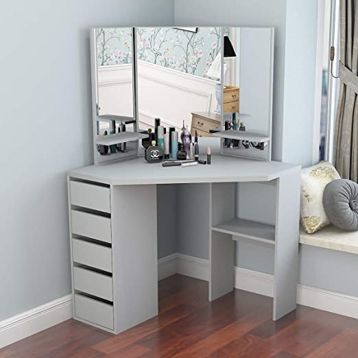 Amazon Com Corner Dressing Table Makeup Desk With Three Fold Mirror And 5 Drawers Wooden Bedroom Vanity Table Gray Kitchen Dining