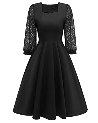 BEIJG BEJG Womens Vintage 50s Floral Lace Cocktail Dress Square Neck 3/4 Sleeve Short