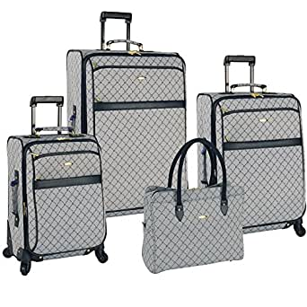 PIERRE CARDIN Signature Spinner Four Piece Luggage Set, White/Peacoat, One Size