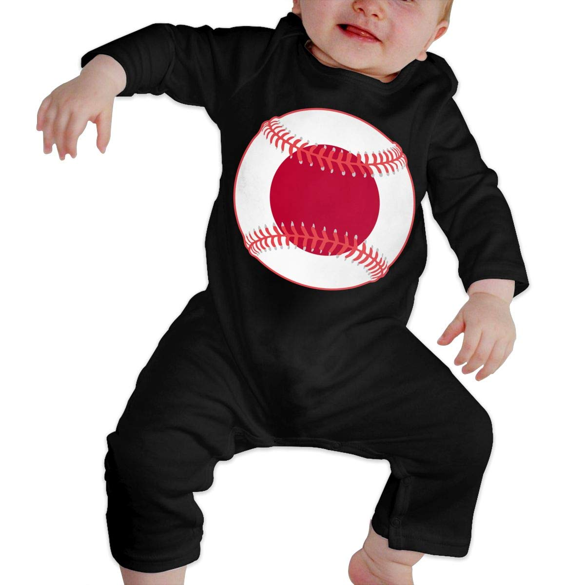 Mri-le1 Newborn Kids Long Sleeved Coveralls Japan Flag Baseball Clipart Baby Clothes