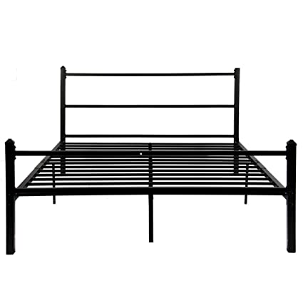 GreenForest Bed Frame Queen Size No Squeaky Metal Platform Bed with  Headboard Non Slip Steel Slat Support Heavy Duty Bed Base Mattress  Foundation