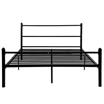 new products d54ea c4ca1 GreenForest Bed Frame Queen Size No Squeaky Metal Platform Bed with  Headboard Non Slip Steel Slat Support Heavy Duty Bed Base Mattress  Foundation
