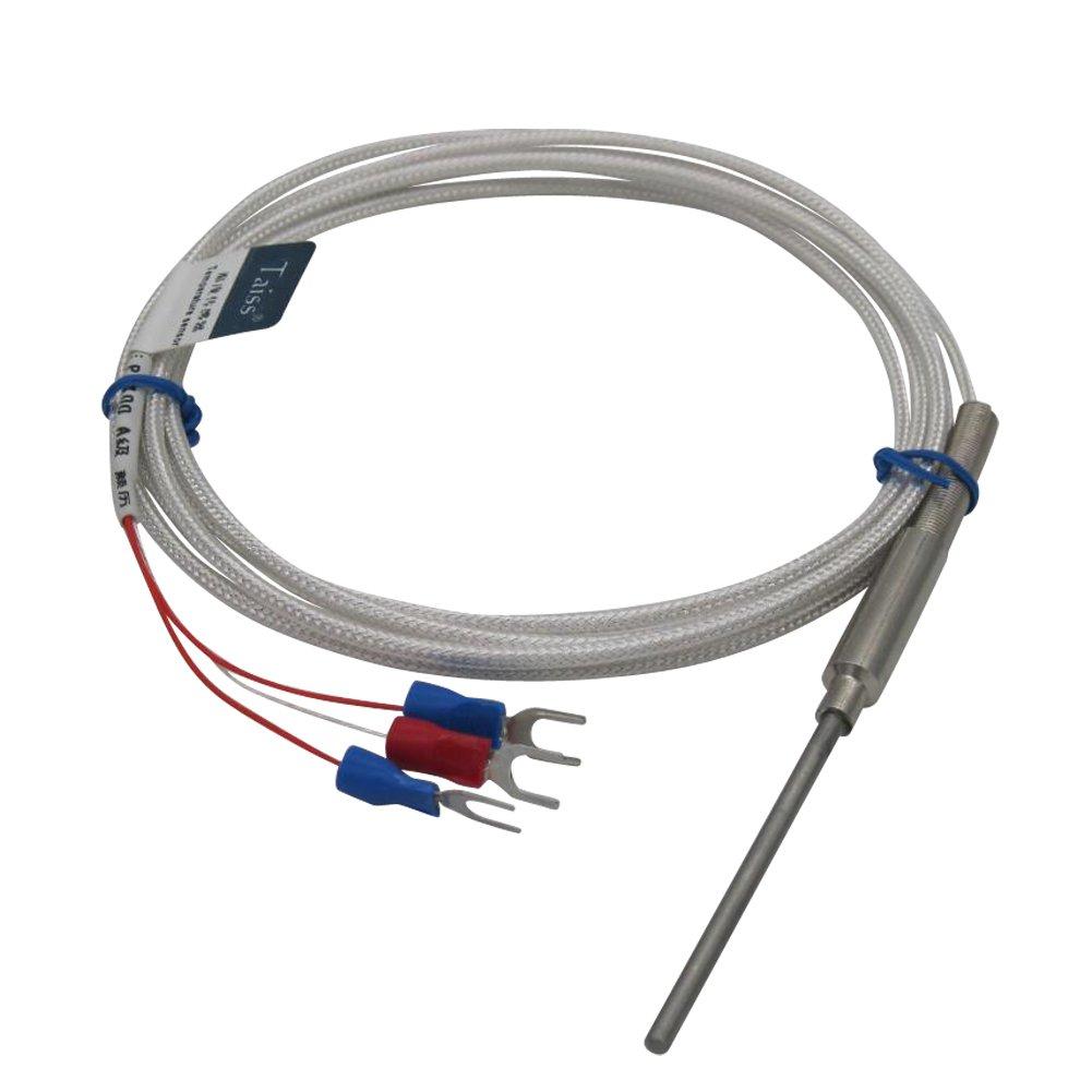 Taiss/Stainless Steel Temperature sensor Temperature Controller -50-420 C Thermocouple PT100 Type Probe Sensors Thermistor ,diameter 3mm ,Probe Long: 50mm/2''