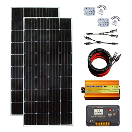 ECO-WORTHY 300 Watt (2pcs 150W) Solar Panel Kit + 1000 Watt 12V-110V Pure  Sine Wave Inverter + Solar Controller for RV, Boat, Cabin, Off-Grid 24 Volt