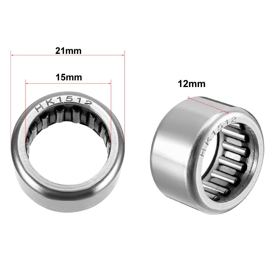 uxcell HK0306 Drawn Cup Needle Roller Bearings 6mm Width Open End 6.5mm OD 3mm Bore Dia Pack of 1