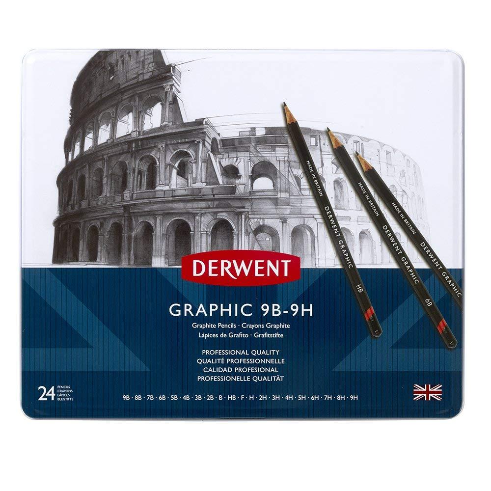Derwent Graphic Pencils, Metal Tin, 24 Count (34202) by Derwent