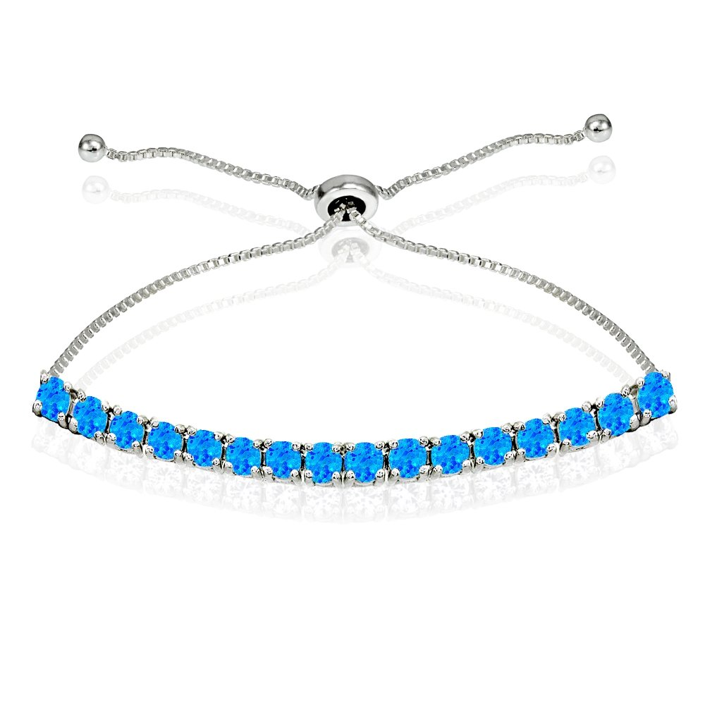 Sterling Silver 3mm Simulated Blue Opal Round-cut Chain Adjustable Pull-String Bolo Slider Tennis Bracelet for Women Teens Girls