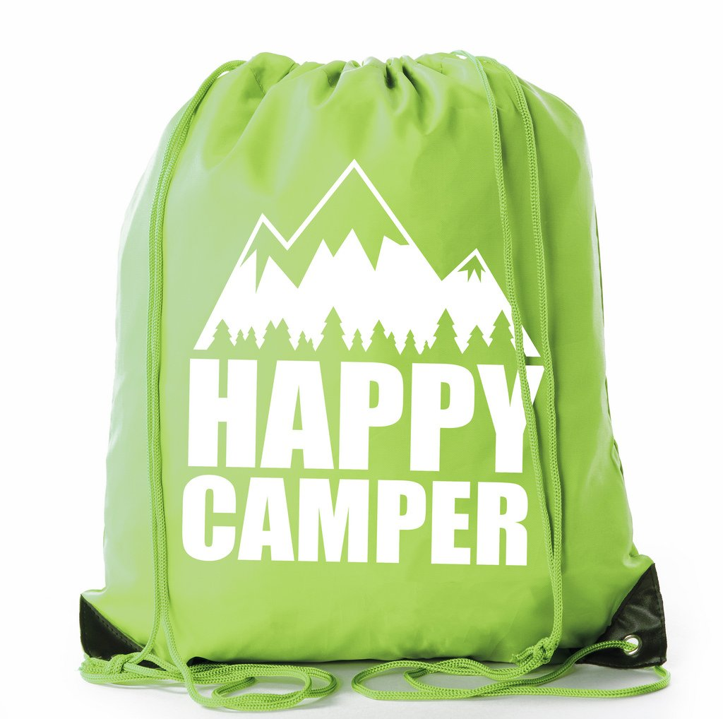 Mato & Hash Camping Drawstring backpack for Birthday parties and Summer Camp - 6PK Lime CA2500Camping S4