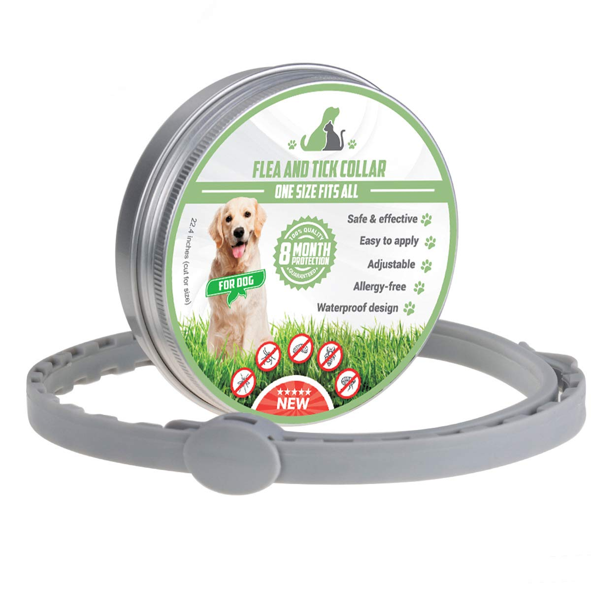 ZJH Flea and Tick Prevention Collar, Waterproof, Adjustable and Natural Flea Collar Prevention Essential Oil for Pets Fits All Dogs and Cats