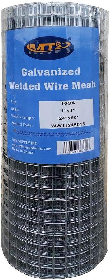 MTB Galvanized Welded Wire Mesh Garden Economy Fence 24 Inch x 50 Foot-1 Inch x 1 Inch 16GA
