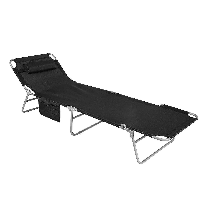SoBuy® OGS35-Sch Chaise Longue Bain de soleil Transat de Jardin Pliant Chaise de Camping inclinable, pliable et réglable –Noir
