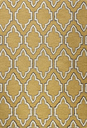 Bashian Verona Collection Nomad 100-Percent Wool Pile Area Rug, 5-Feet by 7-Feet 6-Inch, Gold