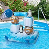 SCS Direct Inflatable Swimming Pool Game - Floating Stack 'N Splash Penguins - Build It, Aim, Knock It Down - 10pc Set Including 2 Balls