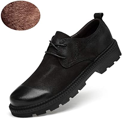f701f7c6b5af Amazon.com : Hy Men's Formal Shoes, Leather Fall Winter Flat Casual ...