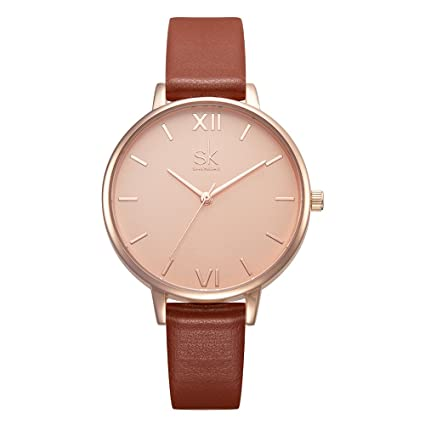 Amazon.com: SK Women Watches Leather Band Luxury Quartz Watches Girls Ladies Wristwatch (Brown): Watches