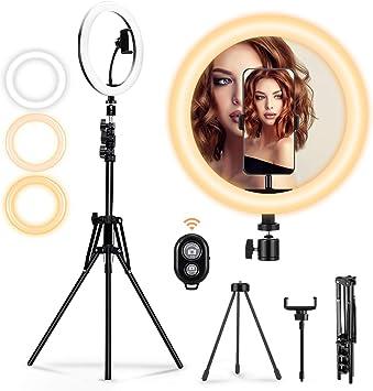 DigHealth Anillo de Luz LED Ring Light con 3 Colores 10 Brillos Regulables Control Remoto Bluetooth,Tr/ípode con Soporte Giratorio de Tel/éfono Anillo de Luz para Selfie Maquillaje Youtube Live
