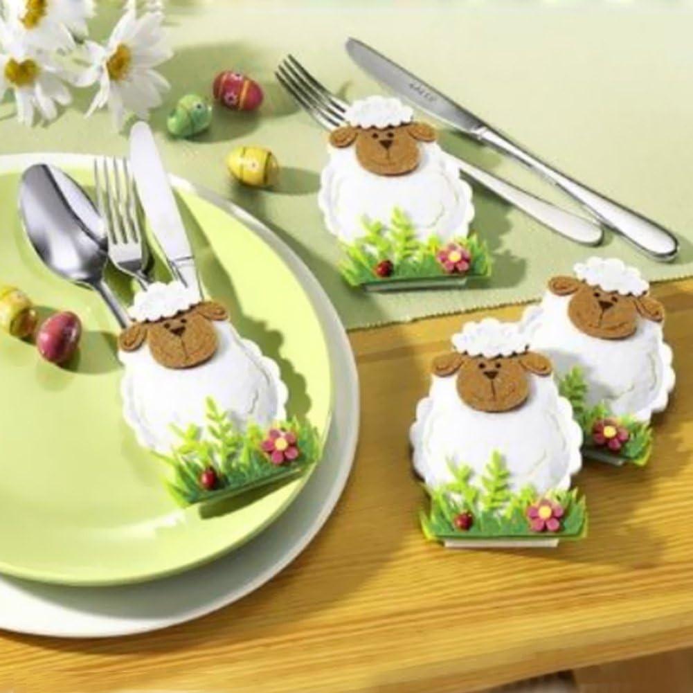 ZQHWH Pack von 4pcs Cartoon Ostern Schafe Lamm K/üche Geschirr Halter Besteck Tasche Home Tisch L/öffel Taschen Dekorationen