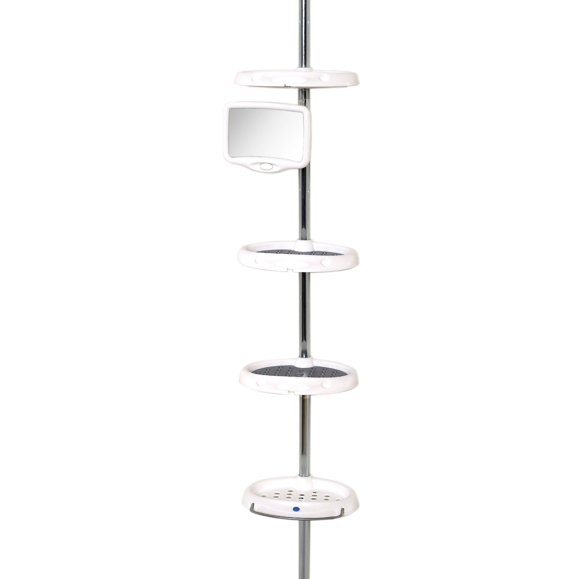 Zenna Home 5804B, Deluxe Bathtub and Shower Tension Corner Pole Caddy, White/Chrome