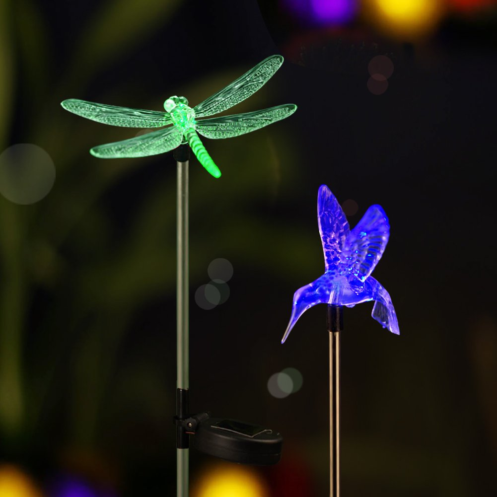 Bright ZEAL [Set of 2] LED Color Changing Solar Stake Lights Outdoor - Solar Light LED Garden Decor Statues (Hummingbird, Dragonfly) - Patio Lights LED Outdoor Multicolor Changing LED Lights