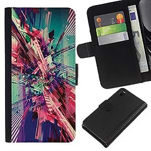 A-type (City Vortex Teal Pink Art) Colorida Impresión Funda Cuero Monedero Caja Bolsa Cubierta Caja Piel Card Slots Para Sony Xperia Z3 D6603