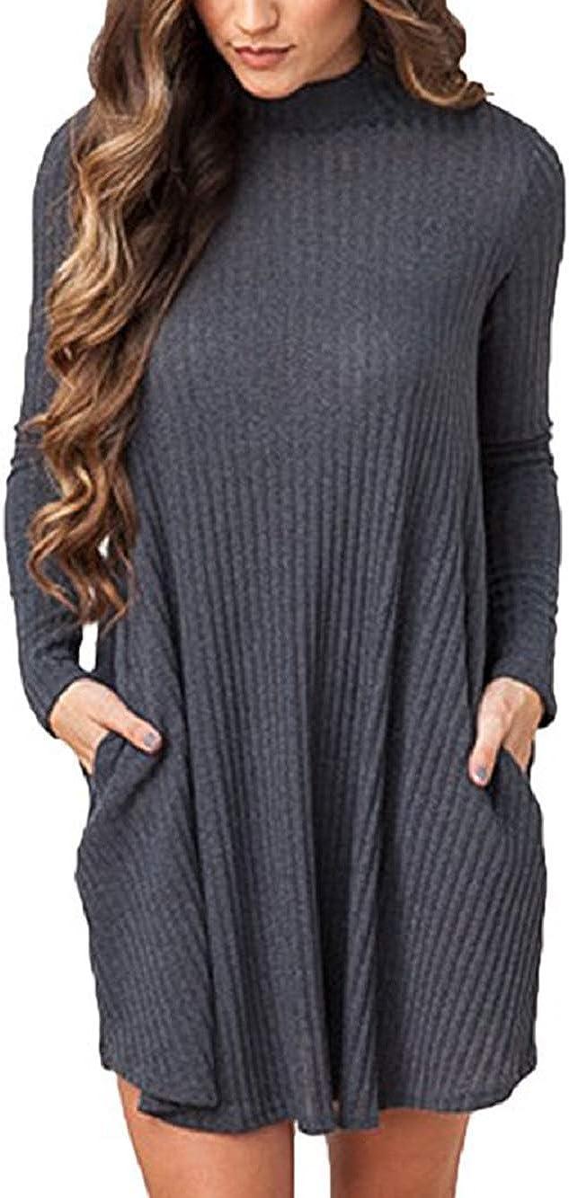 TALLA EU 40=Tag Size XL. Summer Mae Mujer Jersey Invierno Suéter Largo Mangas Largas Vestido Corto Elegante Gris Oscuro EU 40=Tag Size XL