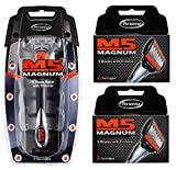 Personna M5 Magnum 5 Razor with Trimmer + M5 Magnum 5 Refill Razor Blade Cartridges, 4 ct. (Pack of 2) + FREE Luxury Luffa Loofah Bath Sponge On A Rope, Color May Vary